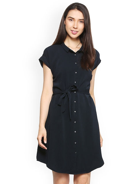 Allen Solly Woman Women Black Solid Shirt Dress