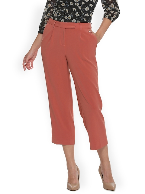 Van Heusen Woman Rust Red Striped Cropped Trousers