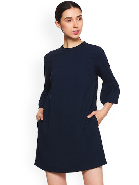 Van Heusen Woman Navy Blue Solid A-Line Dress