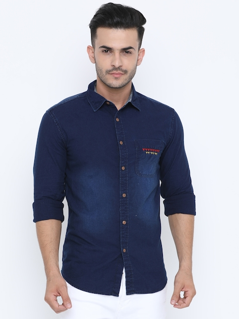 15223c18f3d 35%off Jackal Berry Men Navy Blue Smart Slim Fit Faded Casual Shirt