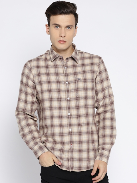 Arrow Sport Men Beige Slim Fit Checked Casual Shirt