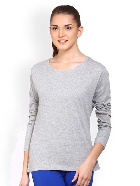 appulse Women Grey Melange Solid Round Neck T-shirt