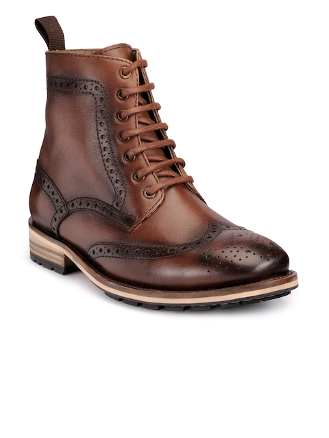 Teakwood Leathers Men Brown Textured Leather High-Top Flat Boots