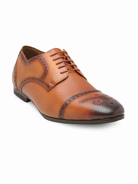 Teakwood Leathers Men Tan Brown Genuine Leather Formal Brogue Shoes