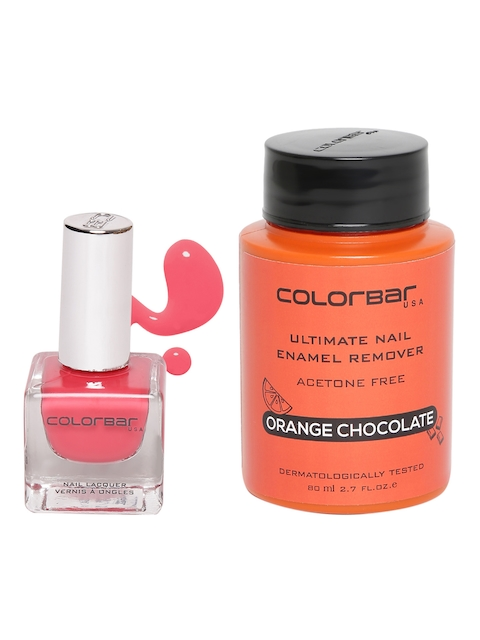 Colorbar Women Set of Orange Chocolate Nail Enamel Remover & Haute Rouge Nail Lacquer 66
