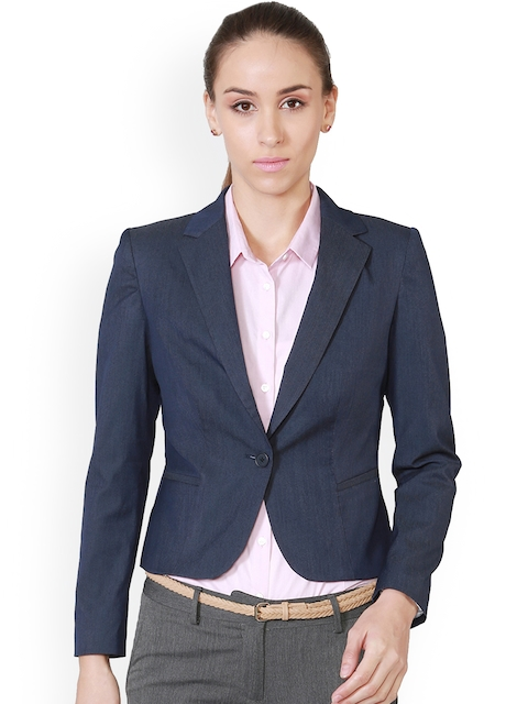 Allen Solly Woman Navy Blue Formal Blazer