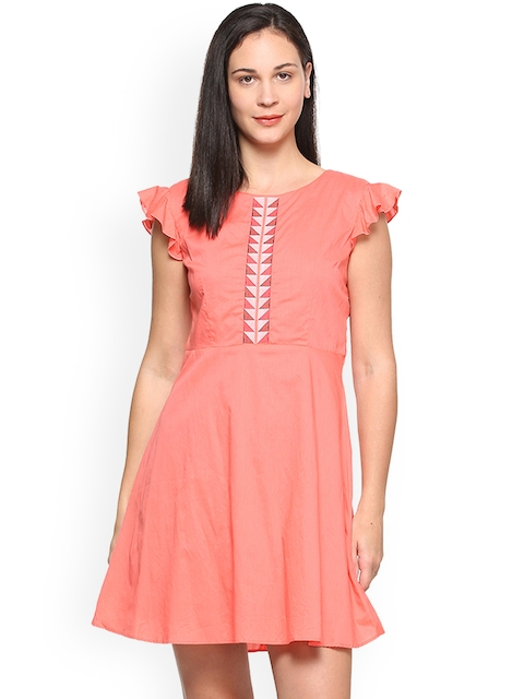 Allen Solly Woman Women Peach-Coloured Solid A-Line Dress