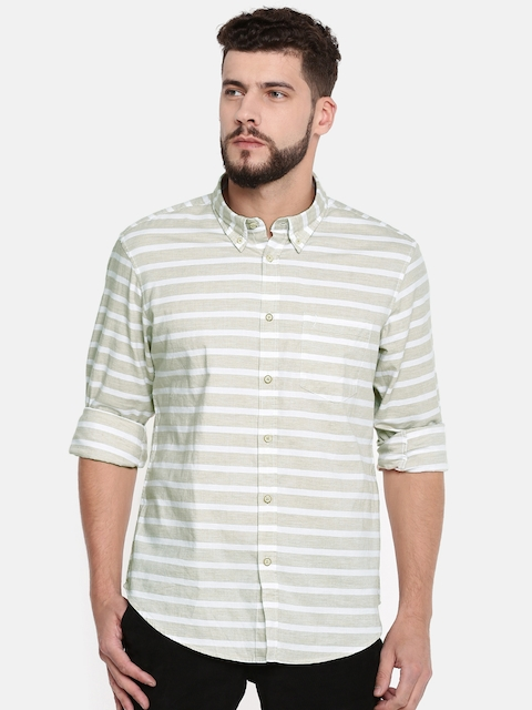 Indian Terrain Men Beige & Off-White Slim Fit Striped Casual Shirt