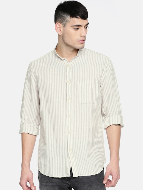 Indian Terrain Men Beige Slim Fit Striped Casual Shirt