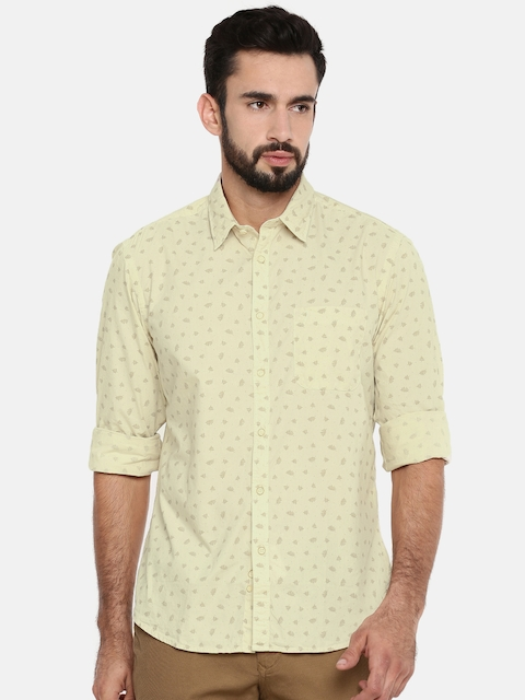 Indian Terrain Men Beige Slim Fit Printed Casual Shirt