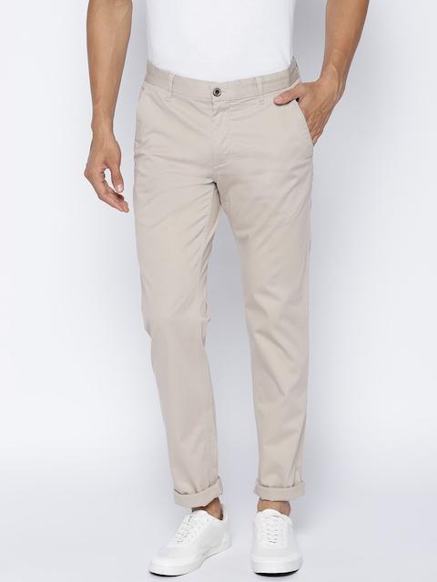 Arrow Sport Men Beige Chrysler Fit Solid Regular Trousers