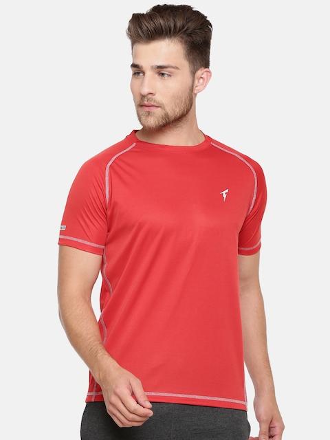 Bareblow Men Red Solid Round Neck T-shirt