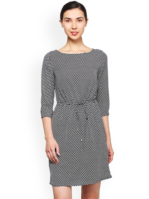 Van Heusen Woman Women Black Printed Fit and Flare Dress