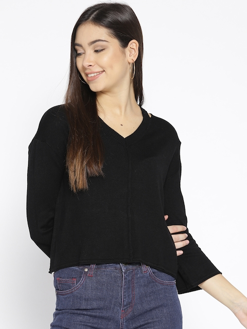 Mast & Harbour Women Black Solid Sweater