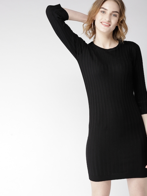 Mast & Harbour Women Black Self-Striped Sweater Dress