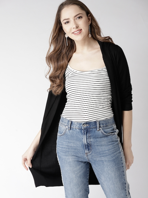 Mast & Harbour Women Black Solid Front-Open Cardigan