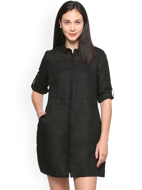 Allen Solly Woman Women Black Solid Lined Shirt Dress