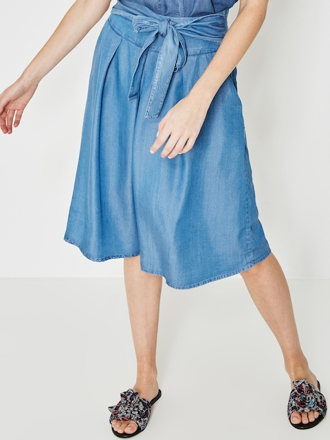 promod Women Blue Solid Chambray A-Line Skirt