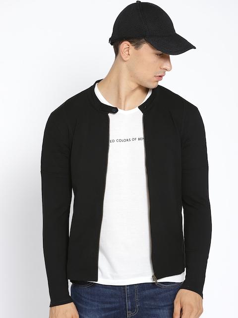 United Colors of Benetton Men Black Solid Sweatshirt