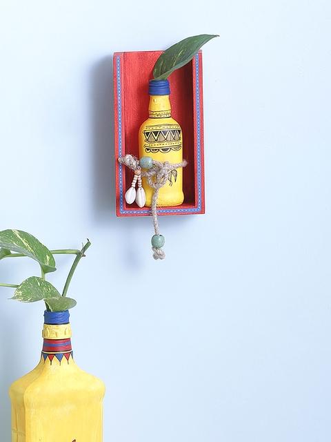 VarEesha Red & Yellow Warli Money Plant Bottle Holder Wall Mount