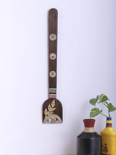 VarEesha Brown Spatula-Design Madhubani Art Wall Mounting