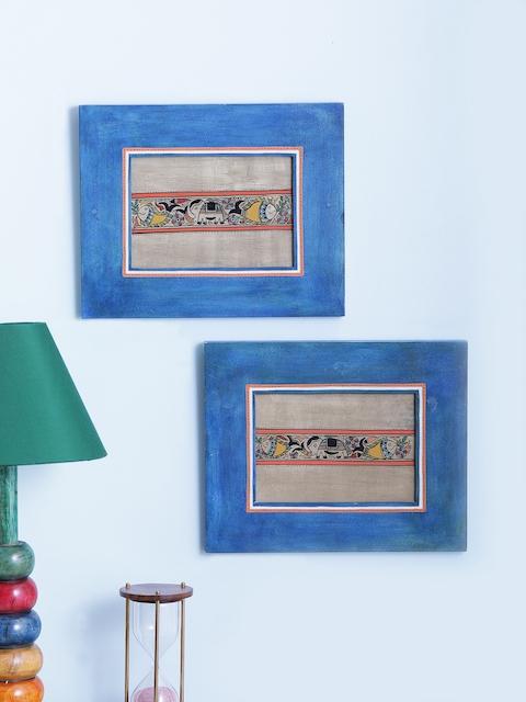 VarEesha Blue Madhubani Art Wall Mounting
