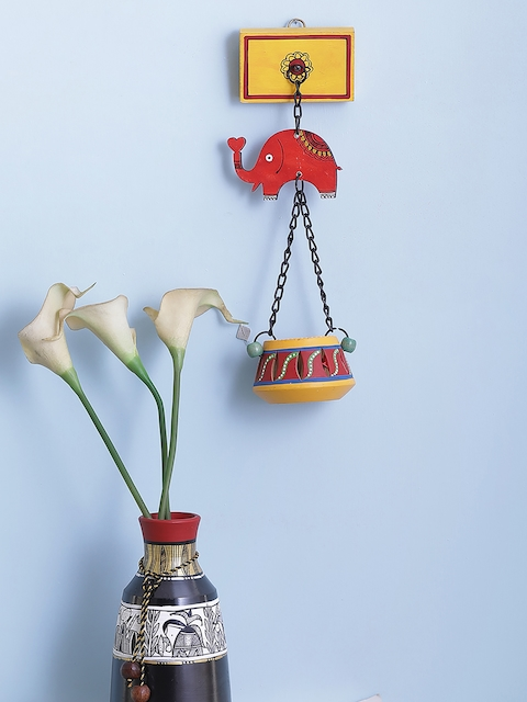 VarEesha Red, Yellow and Black Elephant Wall Hanging cum Tea Lite Holder