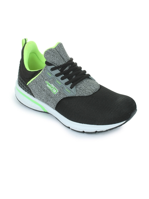 Liberty Men Grey & Black Leather Running Shoes