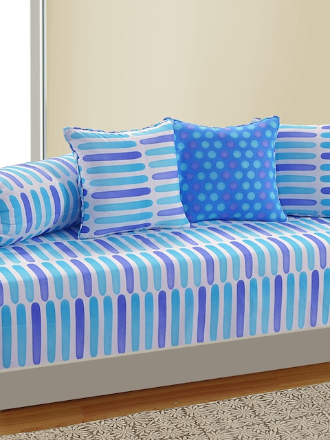 SWAYAM White and Blue Geometric Print 144 TC Diwan Set with Bolster and Cushion Covers