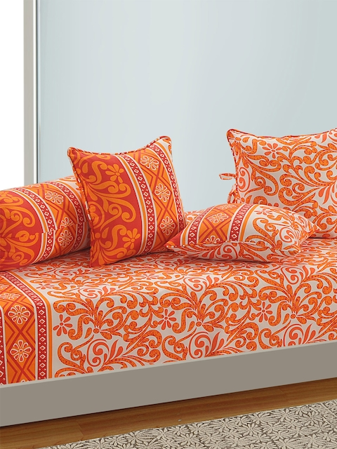SWAYAM White and Oarnge Printed 144 TC Diwan Set with Bolster and Cushion Covers