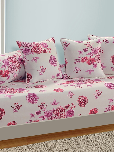SWAYAM White and Pink Floral Print 160 TC Diwan Set with Bolster and Cushion Covers