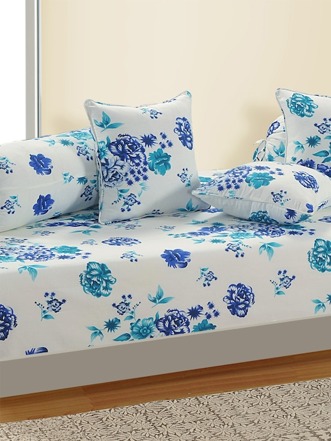 SWAYAM White and Blue Floral Print 160 TC Diwan Set with Bolster and Cushion Covers