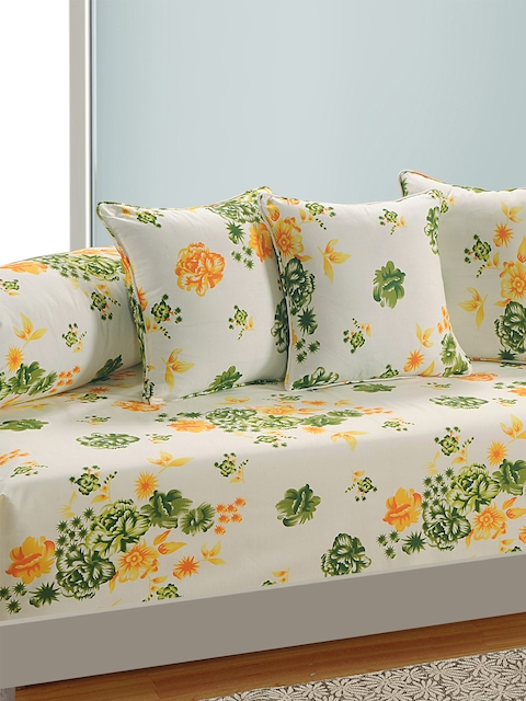 SWAYAM Off-White and Yellow Floral Print 160 TC Diwan Set with Bolster and Cushion Covers