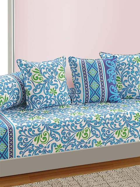 SWAYAM White and Blue Printed 160 TC Diwan Set with Bolster and Cushion Covers