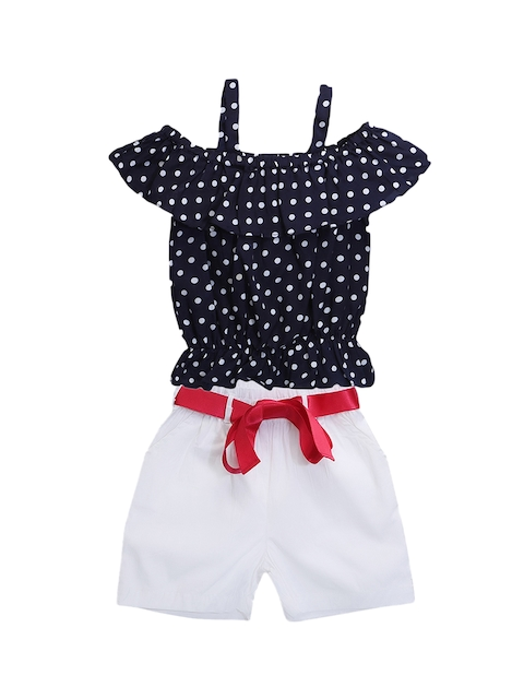 LilPicks Girls Navy Blue & White Printed Top with Shorts