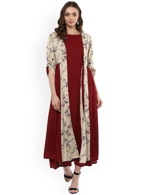 Idalia Women Maroon Printed Fit and Flare Dress With Shrug