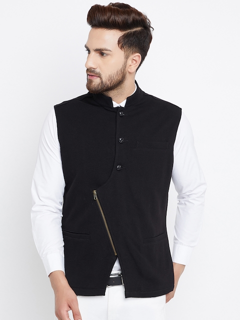 Hypernation Men Black Nehru Jacket