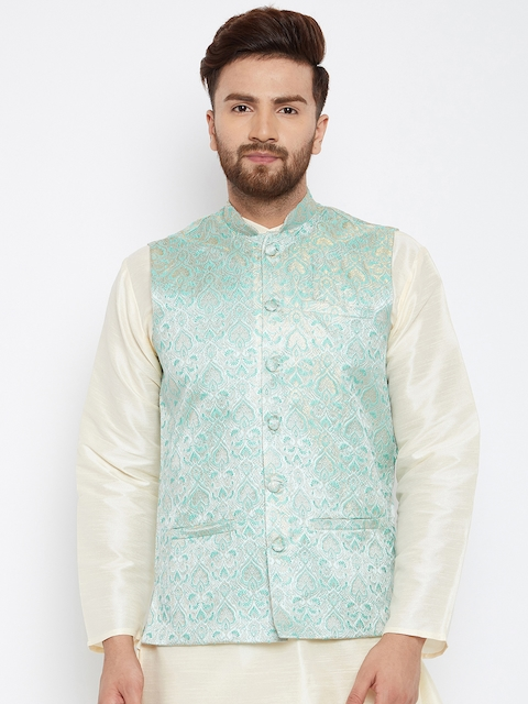 SOJANYA Men Sea Green Woven Design Nehru Jacket