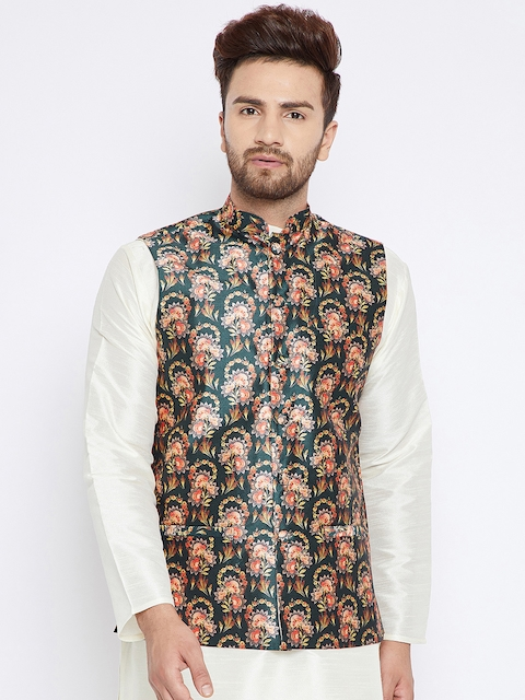 SOJANYA Men Olive Green & Pink Printed Nehru Jacket