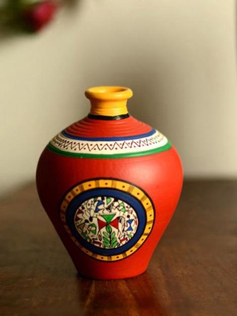 ExclusiveLane Red Terracotta Handpainted Warli Matki Shaped Vase