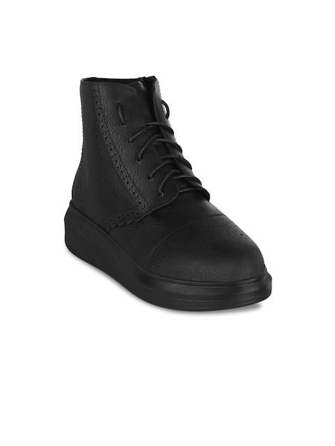 SHUZ TOUCH Women Black Solid Synthetic Patent High-Top Flat Boots