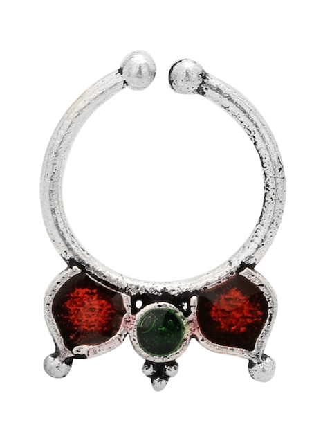TJORI Silver-Plated Green & Red Enamelled Nosepin