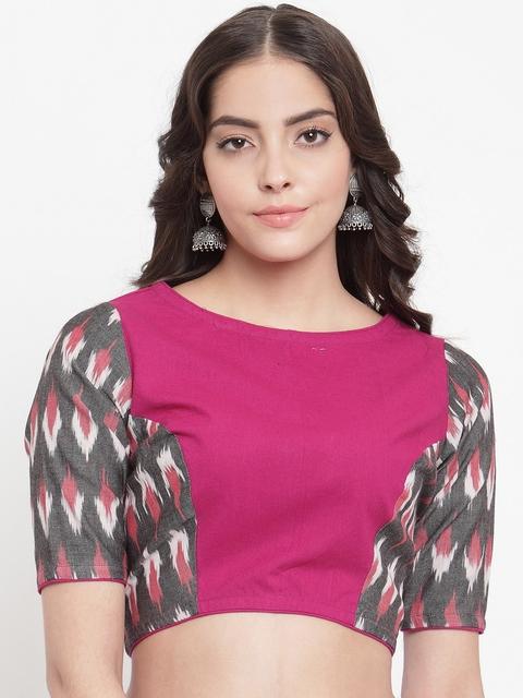 TJORI Women Pink, Grey & White Ikat Print Saree Blouse