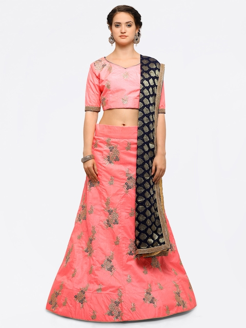 Aasvaa Pink & Navy Blue Embroidered Semi-Stitched Lehenga & Unstitched Blouse with Dupatta