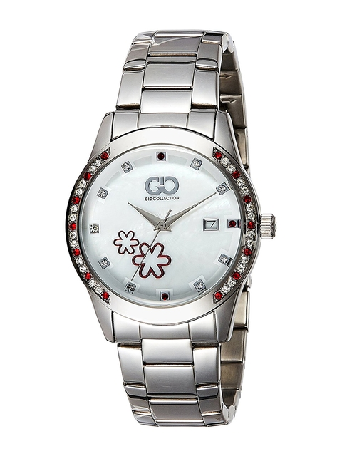 GIO COLLECTION Women Silver-Toned & White Analogue Watch