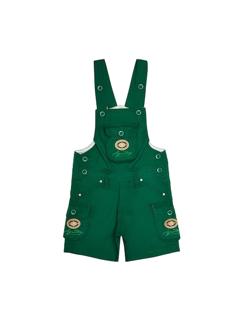 FirstClap Kids Green Solid Dungaree