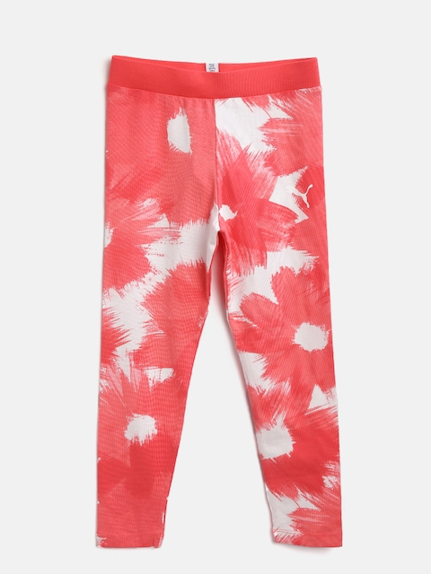Puma Girls Coral Pink & White Printed Style AOP Sports Tights