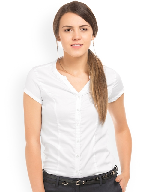 Arrow Woman White Regular Fit Solid Formal Shirt