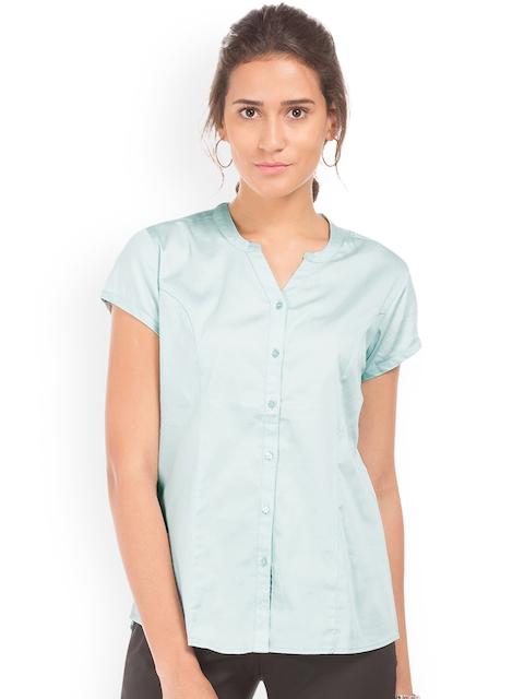 Arrow Woman Green Regular Fit Solid Casual Shirt