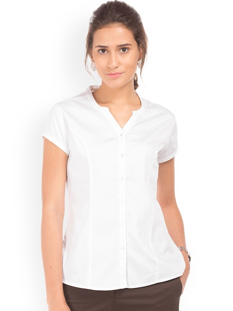 Arrow Woman White Regular Fit Solid Casual Shirt